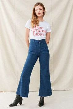 55e597258463 Urban Renewal Vintage Sailor High-Rise Flare Jean Denim Overalls
