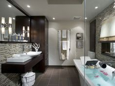 In narrow bathrooms I love when the vanity seems to hang on the wall, opening up the floor space and making the room look bigger