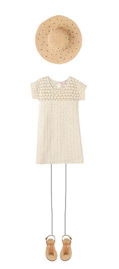Crochet dress Ecru Embroidered sun hat Natural Delhi sandals Natural