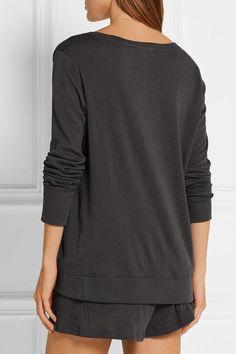 Skin - Lofty Cotton-jersey Pajama Top - Dark gray