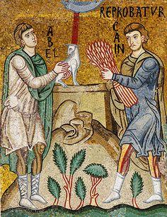 L'offerta di Abele e Caino, mosaico del XII secolo, Cappella Palatina, Palermo [© Franco Cosimo Panini Editore]