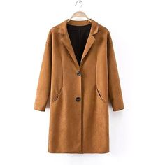 c6b90b1132e40 Yoins Yoins Tan Lapel Single Breasted Suedette Coat (180 RON) ❤ liked on  Polyvore