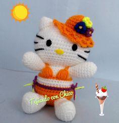 Diese niedliche Hello Kitty im Bikini häkeln.    Anleitung Kostenlos  Spanisch  Online Verfügbar     zur Anleitung: Klick Hier  Überset...