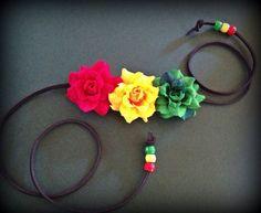 Rasta Rose Trio headband by Slave2theRave on Etsy, $14.00