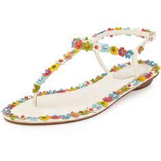 Rene Caovilla Lace & Floral Thong Sandal ($632) ❤ liked on Polyvore featuring shoes, sandals, flats, multi colors, flat pumps, ankle tie sandals, beaded thong sandals, flats sandals and flat shoes