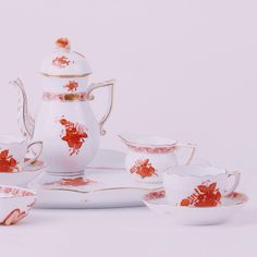 Our choice for today is this orange Apponyi tea set, how about yours? Tea Set, Tea Cups, Porcelain, Mood, Autumn, Orange, Tableware, Instagram Posts, Decor