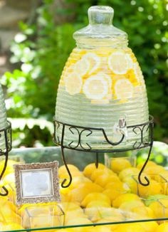 Lemonade anyone? Brighten up your refreshments with a few slices of fresh citrus, sprigs of mint or even raspberries! #Bridalshower | Mirelle Carmichael Photography Apron, Colors, Pinafore Dress, Aprons