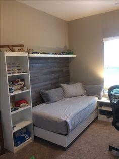 Teen Boy bedroom with faux wood wall