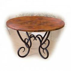 Mathews and Company Milan Dining Table with 48 in Round Copper Top