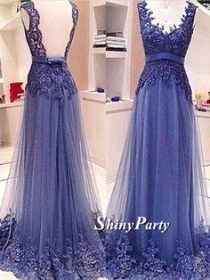 V Neck Backless Lace Evening Dress
