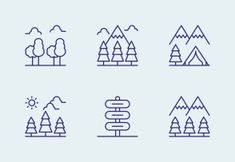 'National Park' by Made By Made Camping Icons, Line Icon, Icon Set, National Parks, Outdoors, Nature, Naturaleza, Outdoor Rooms, Nature Illustration