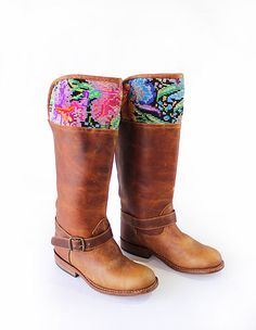 Guatemalan Boots - Handmade boots - Flora riding Boots - Weather will be a problem no more, With this boots it will be spring wherever you go , the perfect mix of leather and chichicastenango flowers huipil on top. Guatemalan women, artisan in Guatemala #guatemalanboots #handmadeboots #guatemala #customboots #handmade #boots #GuateBoots www.nawalboots.com