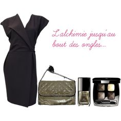 "Robe du soir portefeuille Gold'n - Sac Vimoda - vernis Chanel Alchimie collection Fall Winter 2013 - CpourL.fr ""Alchimie"" by cpourl on Polyvore"