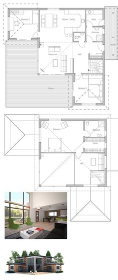 Small house plan with three bedrooms and two living areas, second living area on the second floor. Floor Plan.