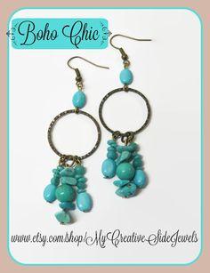 Turquoise boho hoop earrings.  SHOP: https://www.etsy.com/shop/MyCreativeSideJewels