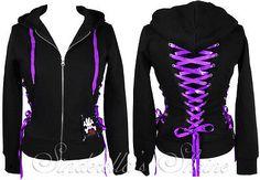 HELL BUNNY Black Purple Ribbon~CoRSeT HooDie~Punk Jacket 8-20 XS-XL