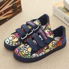 bcdc9e6b552 Nové 2017 jarní graffiti plátno dětské boty chlapci tenisky značky dětské  boty pro dívky džíny denim ploché boty dětské trenéři