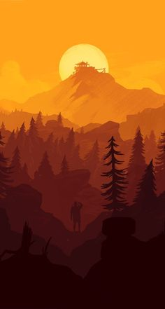 Firewatch awesome wallpapers for iphone, dark wallpaper iphone, plain wallpaper, orange wallpaper, Art And Illustration, Mountain Illustration, Mountain Wallpaper, Minimalist Wallpaper, Minimalist Art, Fantasy Landscape, Landscape Artwork, Environment Design, Aesthetic Wallpapers