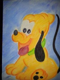 Pluto gemalt mit Pastelkreide