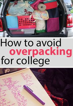 Avoid Overpacking for College - dorm-room-madness - College Packing Lists, College Checklist, Packing Hacks, College Planner, Weekly Planner, College Binder, College Life Hacks, Dorm Life, College Tips