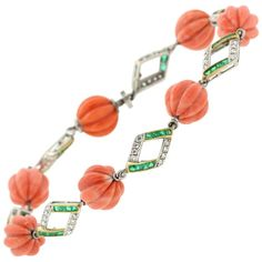 Art Deco Coral Emerald Diamond Platinum Bracelet 4750$