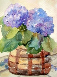 I'd like to paint her something like this one day...Watercolor of Hydrangeas
