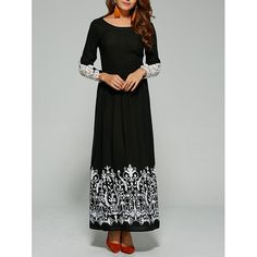 20.15$  Watch now - http://dinua.justgood.pw/go.php?t=199898602 - Lace Trim Sleeve Maxi Dress
