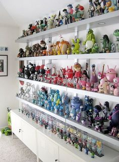 Epic color-coded toy display from illustrator Sarah Harvey's collection. Toy Display, Display Case, Display Ideas, Display Shelves, Vinyl Toys, Vinyl Art, Action Figure Display, Action Figures, Action Toys