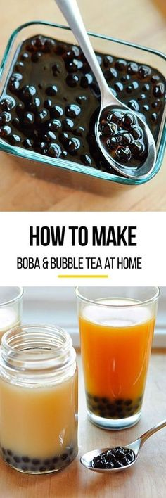 Watch this video to learn how to make your own boba & bubble tea at home. Tea Recipes, Cooking Recipes, Drink Recipes, Vegetarian Recipes, How To Make Boba, Yummy Drinks, Yummy Food, Smoothies, Recipes