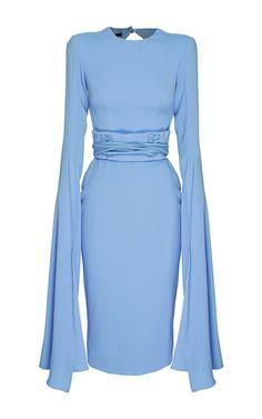 The Chloe satin crepe long sleeve dress by Alex Perry   Moda Operandi