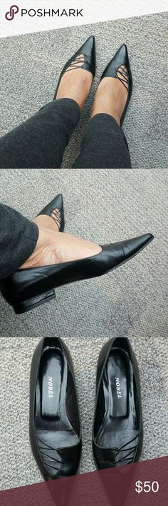 Nobel Black Leather Flats. No box. Made in Italy Vero Cuoio size says 35.5 but I'm size 7. This is more 6.5. Great quality leather & great condition.  Worn around the house only. Nobel  Shoes Flats & Loafers