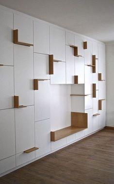 Home Decorators Luxury Vinyl Plank Living Room Storage, Wall Storage, Shelf Design, Cabinet Design, Built In Furniture, Furniture Design, Interior Modern, Interior Design, Plank