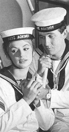 ''Η Αλίκη στο Ναυτικό'' 1961 του Αλέκου Σακελλάριου Βουγιουκλάκη, Παπαμιχαήλ Captain Hat, Cinema, Cool Stuff, Hats, Movies, Movie Theater, Cool Things, 2016 Movies, Hat