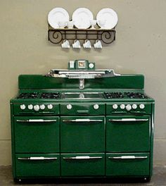 "Antique Gas Stoves - 60"" Roper Town & Country. This model is tied for my 1st place favorite - but definitely not in countrified green. Give me pink, turquoise or mint, please!"