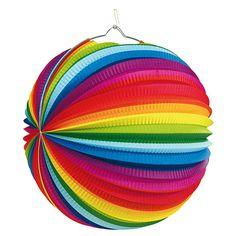 Lampion culorile curcubeului din hartie, diametru 25 cm