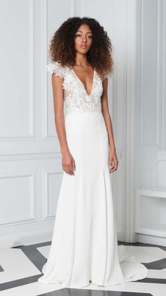 Wedding Dress with cap sleeves and plunging neckline - wedding gown from Bliss Monique Lhuillier 2018 Collection