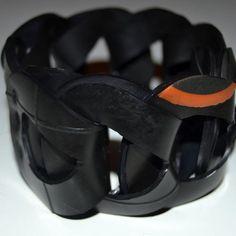 Fat Chain Bracelet  Handmade, Upcycled Rubber Fat Chain Bracelet  www.peek.org.za