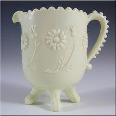 Sowerby Victorian Queen's Ivory Milk Glass Creamer - Marked £59.99