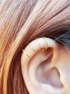 Fourfold Wrap Ear Cu  Fourfold Wrap Ear Cuff Fake Piercing Tiny Double Wrap Ear Cuff