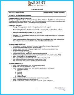 Server Job Description Resume Banquet Captain Job Description  Banquet Captain  Pinterest