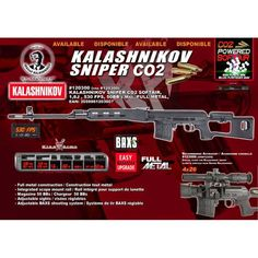Kalashnikov Sniper Co2 automatique full métal 1,4j by King Arms