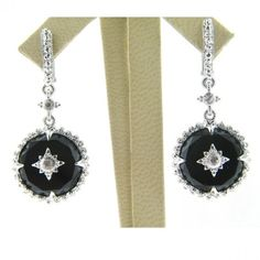Round Black and Onyx and White Sapphire Laguna Earrings