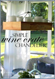 21 Rosemary Lane: Simple Wine Crate Chandelier