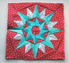 Paper piecing star pattern red aqua free pattern
