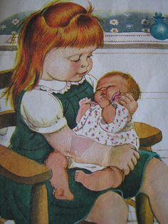 Eloise Wilkin, Baby Dear. My favorite picture book of all time. Vintage Children's Books, Children's Literature, Children's Book Illustration, Book Illustrations, Little Golden Books, My Children, Kids Playing, Baby Dolls, New Baby Products