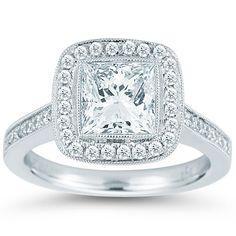 """Princess Cut & Round Brilliant 1.40 ctw VS2 Clarity, I Color Diamond Platinum """"Chelsea"""" Ring"""