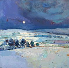 Night Sky by Kirsty Wither, oil on canvas, 16 x 16 inches