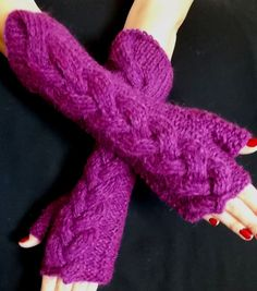 Purple Fingerless Gloves Knit Arm Warmers Mohair Cabled, Extra Soft, Warm and Long Fingerless Gloves Knitted, Knit Mittens, Wrist Warmers, Hand Warmers, Summer Wraps, Mohair Yarn, Summer Scarves, Stay Warm, Arms