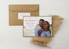 Jenna and Aaron Doily rustic kraft save the date