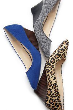 Office-ready mid heel wedges